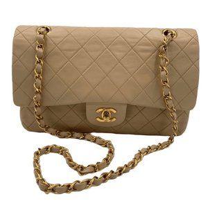 Authentic Classic Lambskin Double Flap Bag Beige